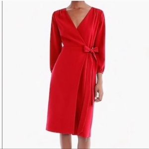 JCrew Wrap Dress in 365 Crepe, 4, Red, NWT